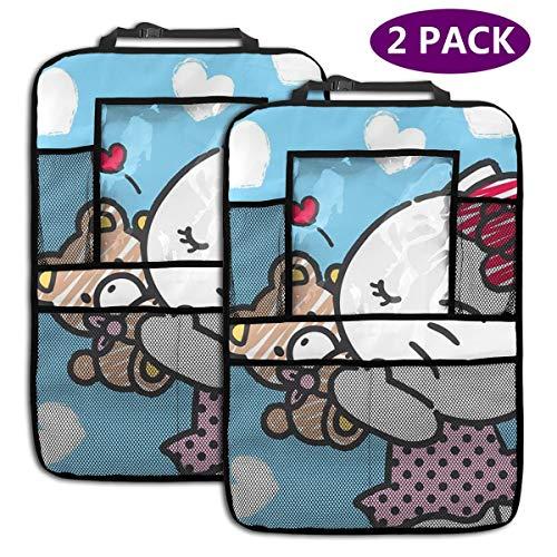 TBLHM Hello Kitty and Bear Love Lot de 2 Sacs de Rangement pour siège arrière de Voiture avec Support pour Tablette