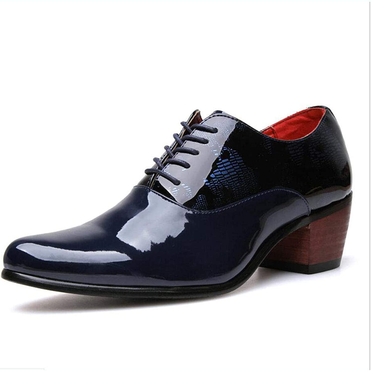 Y-H Men's shoes Leather Spring Fall Oxfords Lace Up Business shoes Pointed Casual shoes Hairstylist Heighten Tide shoesBlack Dark bluee Party & Evening (color   A, Size   40)