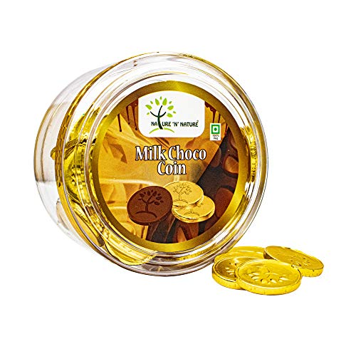 NATURE 'N' NATURE Gold Coin Milk Chocolates, 135 GMS Round Gift Pack, 60pcs