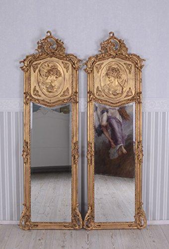 PALAZZO INT Zwei Wandspiegel Set 2 Barock Spiegel Gold Frauenbüsten Re + Li Ankleidespiegel Garderobenspiegel Rokoko