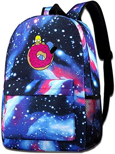Kinder-Simpsons-Donut-sternenklarer Himmel-Hintergrund-Einfachheits-vorzüglicher Muster-Rucksack für den Einkauf, blau