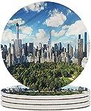 Posavasos de cerámica NYC Sunny Day en Manhattan Park Posavasos de piedra de cerámica con base de corcho Taza de café Mantel individual para inauguración de la casa