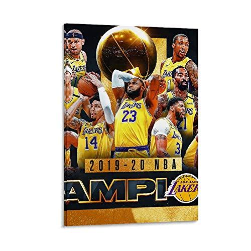 BUGUAN Lakers 2020 NBA Champions - Póster artístico de pared, impresión moderna para habitación familiar, póster de 50 x 75 cm