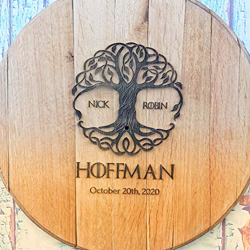 WhiskeyMade Personalized Wedding Guestbook Alternative - Solid Wooden Centerpiece Made from a Real Bourbon Whiskey Barrel Head - Beautiful Decoration for Weddings - Made in The USA (Tree of Life)