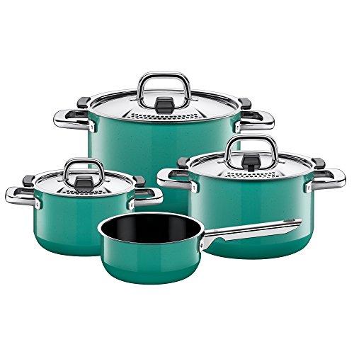 Silit Nature Green - Batería de cocina de inducción (4 piezas, con tapa de metal, cerámica Silargan, para inducción), color verde