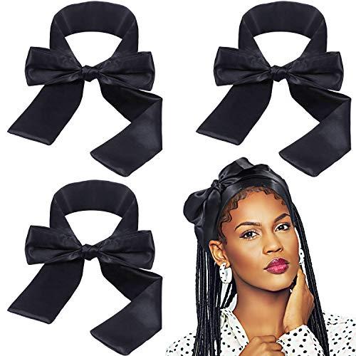 3 Paquets Bandeau de Perruque Bandeaux Satin Foulard Bandeau Cheveux Enveloppe de Cheveux Noir Antidérapant pour Garder l'installation de Perruque, Maquillage, Soin du Visage, Sport, Yoga