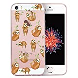 Unov Case Clear with Design Embossed Pattern TPU Soft Bumper Shock Absorption Slim Protective Cover for iPhone SE iPhone 5s iPhone 5(Hanging Sloth)