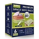 Amazon Brand - Umi Bolsas XL de compresión al vacío con bomba de mano, ideales para ahorrar espacio (paquete de 6)