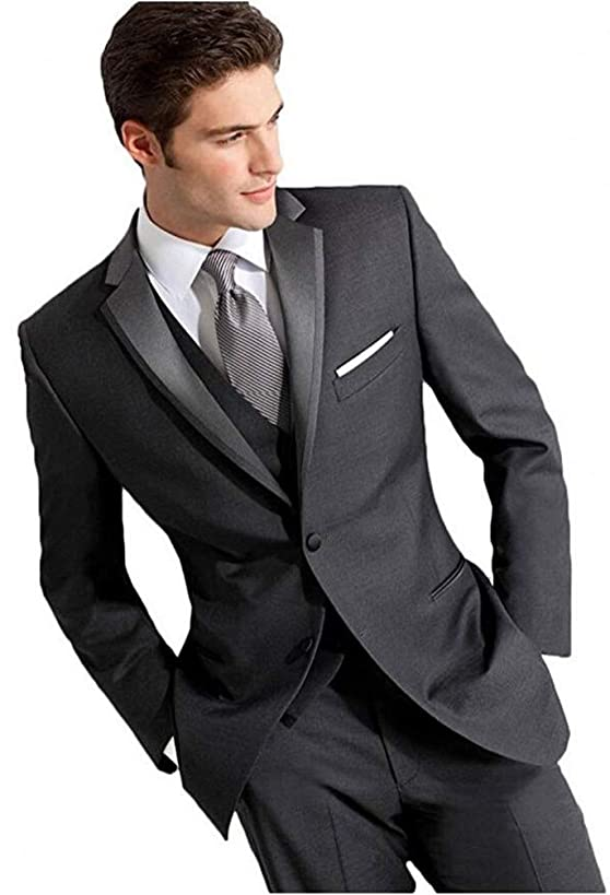 Botong Dark Grey Wedding Suits for Men 3 Pieces Business Men Suits Groom Tuxedos