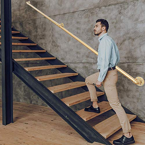 YERT Stair Iron Handrails-a Complete Set, with Wall-mounted Supports for Stairs Industrial Golden Tube Handrails, Indoor and Outdoor Attic Railings for the Elderly Against the Wall (size: 1-20ft)