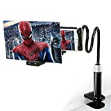 12' Screen Magnifier with Gooseneck Stand –3D HD Phone Magnifier Projector Screen for Movies, Videos, and Gaming–Foldable Lazy Holder with Screen Amplifier–Supports All Smartphones(Black)