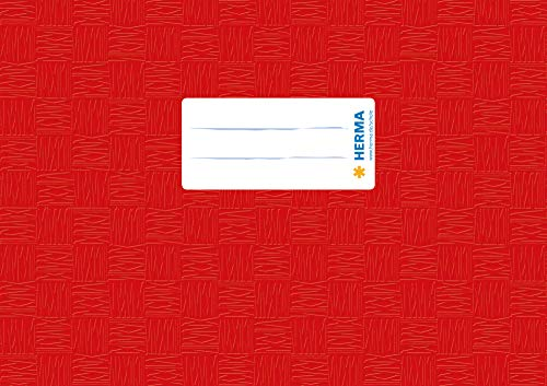 HERMA 7412 Heftumschlag DIN A5 quer, gedeckt mit Baststruktur und Beschriftungsetikett, aus strapazierfähiger und abwischbarer Polypropylen-Folie, 1 Heftschoner für Schulhefte, rot