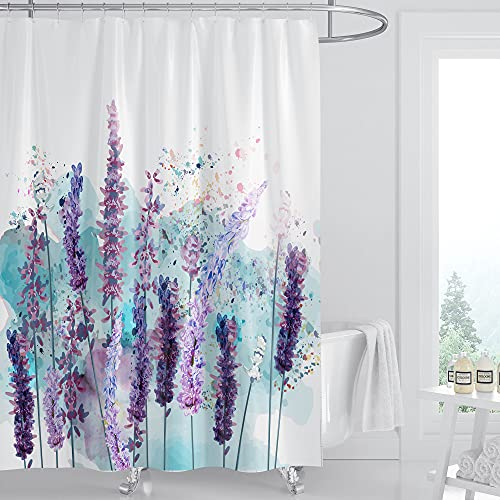 Duschvorhang, Blumen-Aquarell-Lavendel-Stoff, Pflanzen-Heim-Badewannen-Dekoration, leicht zu pflegen, wasserdicht, maschinenwaschbar, strapazierfähiges Polyestergewebe mit 12 Haken, 182,9 x 182,9 cm