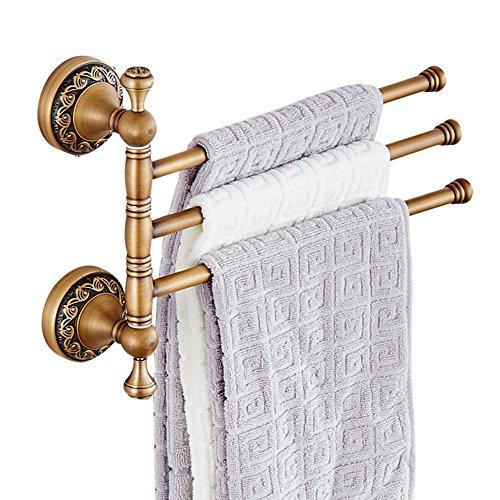 CASEWIND Drehbar Handtuchhalter mit 3 Stange, Besteht aus Messing Antik Europäisch Stil für Badezimmer, Wandmontieren Bohren