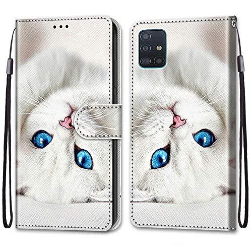 Nadoli Bunt Leder Hülle für Samsung Galaxy A51,Cool Lustig Tier Blumen Schmetterling Entwurf Magnetverschluss Lanyard Flip Cover Brieftasche Schutzhülle mit Kartenfächern