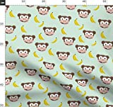 Banane, Affe, Zoo, Tiere, Obst, Mint Stoffe - Individuell