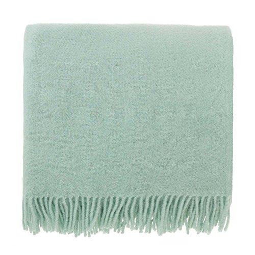 URBANARA 130x190 cm Lammwolldecke 'Miramar' Minzgrün — 100% Reine Lammwolle — Ideal als Überwurf, Plaid oder Kuscheldecke für Sofa und Bett — Warme Wolldecke mit Fransen