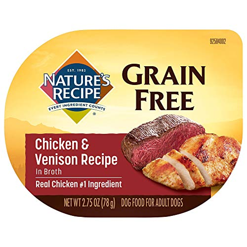 Nature's Recipe Grain Free Wet Dog Food, Chicken & Venison in Broth Recipe, 2.75 Ounce Cup (Pack of 12), Easy to Digest