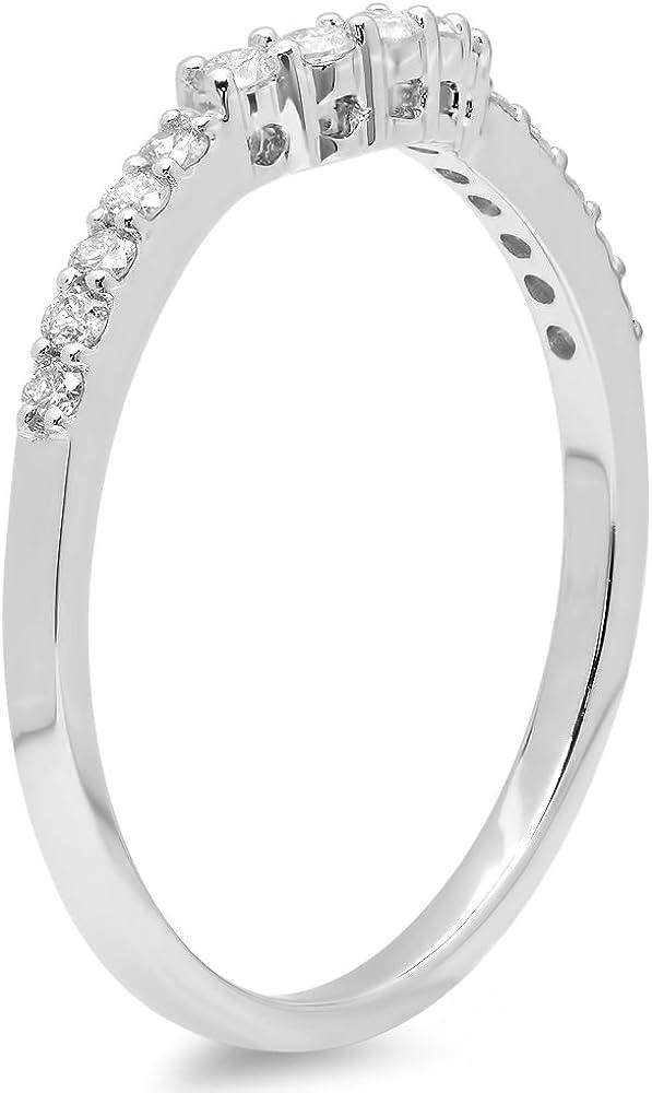 14K Gold Round Diamond Ladies Anniversary Wedding Stackable Guard Ring 1//3 CT Dazzlingrock Collection 0.30 Carat ctw