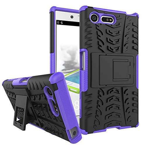 pinlu Funda para Sony Xperia X Compact (4.6 Pulgada) Smartphone Doble Capa Híbrida Armadura Silicona TPU + PC Armor Heavy Duty Case Duradero Protección Neumáticos Patrón Púrpura