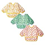3 Pcs Waterproof Baby Bibs | Long Sleeves Weaning Smock Bib with Food Catcher Pocket for Toddler...