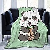 Anganganiel Mantas para Cama Anti-Pilling súper Suave y cómoda Cute Little Panda Enjoying Boba Tea Regalo de cumpleaños para niños Adultos Navidad Decoración de Halloween 125 × 100 cm