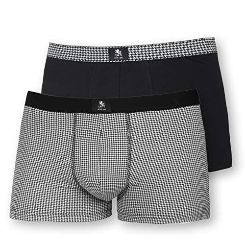 Otto Kern Herren Pants Cotton Stretch 2er Pack I Herrenunterhose aus Baumwolle & Elasthan 95/5 I Unterhose kariert in Single Jersey Qualität I Schwarz Weiß I Gr. M (5)