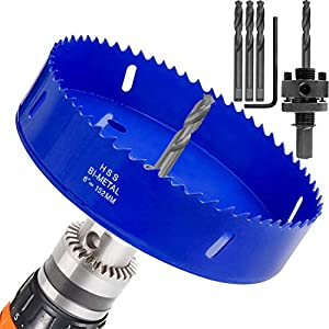 6 inch Hole Saw for Making Cornhole Boards 152mm Corn Hole Drilling Cutter BI-Metal Heavy Duty Steel Blade & Hex Shank Drill Bit Adapter By STARVAST for Cornhole Game, Home Improvement (Blue)