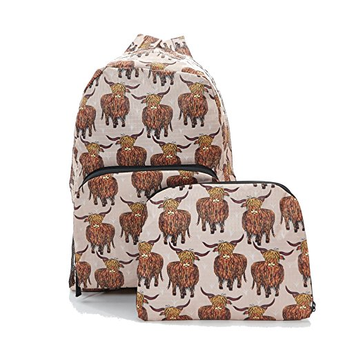 Eco Chic Beige Highland Cow Foldable Backpack