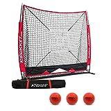 Rukket 6pc Baseball & Softball Bundle | 5x5 Hitting Net | 3 Weighted Balls | Batting, Pitching, Catching Screen with Strike Zone Target