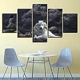 Impresión En Lienzo Pinturas Arte Animal Blanco Lobo Pinturas En Lienzo Arte De Pared Para Decoración Del Hogar Decoración De Pared 5pcs/Set