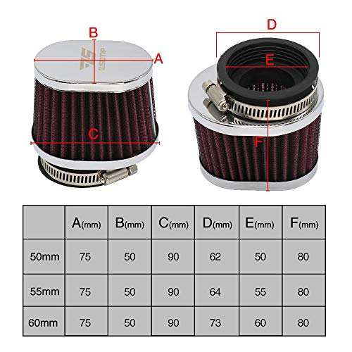 Air Filter 38MM 42MM 4MM5 50MM 55MM 60MM Motorrad Luftfilter Motocross Scooter Air Pods Reiniger für Plastic (Color : 38mm)