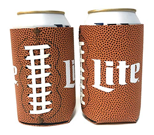 Miller Lite Football Design Beer Can Cooler Insulator - 2 Pack