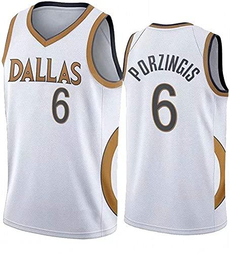 DIMOCHEN Movement Ropa Jerseys de Baloncesto para Hombres, NBA Dallas Mavericks 6# Kristaps Porzingis,Fresco, cómodo, Camiseta Uniformes Deportivos Tops(Size:L,Color:G1)