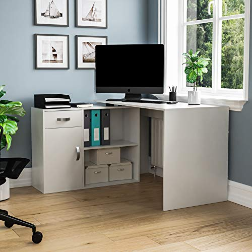 Vida Designs Longton Adjustable, L-Shaped Computer Desk with Shelves, Drawer and Door, Home Office PC/Laptop Table, Gaming Study Workstation, Furniture, White