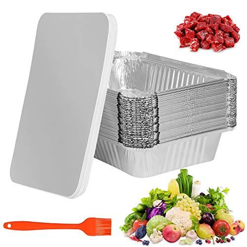 Bandejas de Aluminio Desechables 30 Piezas, con Tapas Bandeja de barbacoa al aire libre para Hornear Asar Parrilla y Cocinar Hornear