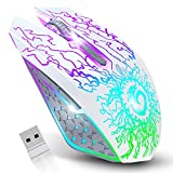 VersionTECH. Wireless Gaming Mouse, Rechargeable Computer Mouse Mice with Colorful LED Lights, Silent Click, 2.4G USB Nano Receiver, 3 Level DPI for PC Gamer Laptop Desktop Chromebook Mac -White