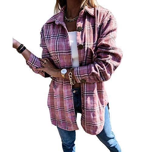 Onsoyours Mujer Chaqueta A Cuadros Manga Larga Con Botones Transición Tamaño Grande Sobrecamisa Cuadros Bolsillos Camisa Ligera Estilo Boyfriend Otoño Jacket A Rosa XS