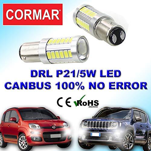 COPPIA LED DIURNE POSIZIONI PANDA RENEGADE 12V 21W 5W CANBUS 1157 P21/5W DRL