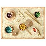 BLUE GINKGO Sensory Bin Tools - Montessori Fine Motor Skills Learning Waldorf Toys for Toddlers and Kids Pretend Play - 9 Piece Kitchen Wooden Set - Includes Wooden Scoops, Bamboo Tongs in a Gift Box