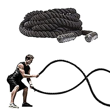 FireBreather Training BATTLE ROPES by Great Workout Equipment for Strength & Cardio. Premium 30, 40 or 50 ft - 1.5 Inch-Thick, Poly Dacron Exercise Rope w/Protective Sleeve & Handles