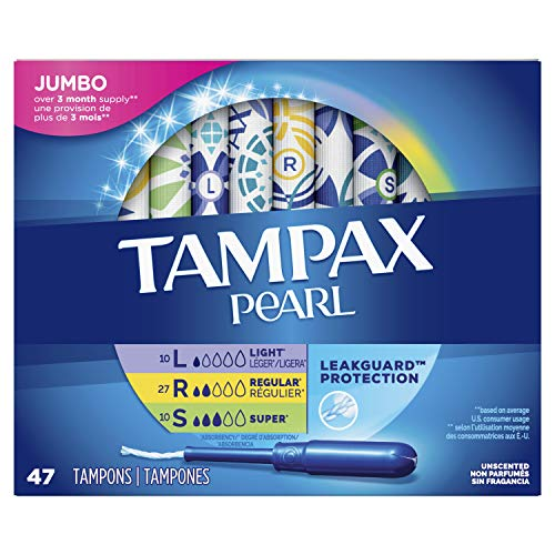 Tampax Pearl Plastic Tampons Multipack Light/Regular/Super Absorbency 47 Count Unscented
