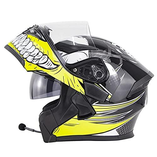 Casco Modulare Bluetooth Flip Full Face Casco Moto Integrato con Doppio Parasole per Uomo E Donna Approvato DOT ECE Caschi Integrali Apribili e modulari (Color : Yellow)