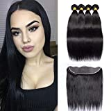 Maxine Hair 9A Grade Brazilian Hair Straight Bundles with Ear to Ear Lace Frontal Closure Brazilian 100% Unprocessed Virgin Hair Frontal with Baby Hair Natural Black Color (14 16 18 +12 Frontal)