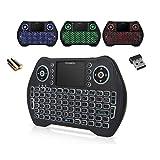 Ovegna MT10: Mini teclado inalámbrico retroiluminado (AZERTY) con touchpad, para Smart TV, Mini PC, HTPC, Console, Ordenador, Raspberry 2/3, Android TV (pilas incluidas)