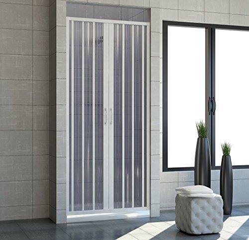 Cabina de ducha 150con apertura plegable central. De PVC. Altura de las puertas de 185 cm