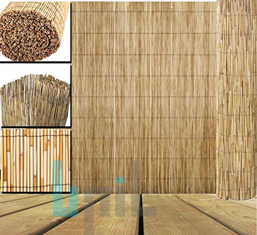 BPIL Natural Peeled Reed Screening Roll Garden Screen Fencing Panel Wooden (Size 1X4m)
