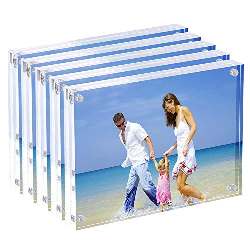 Acrylic Picture Frames, 4x6'' Clear Double Sided Block Set, Desktop Frameless Magnetic Photo Frame (5 Pack)