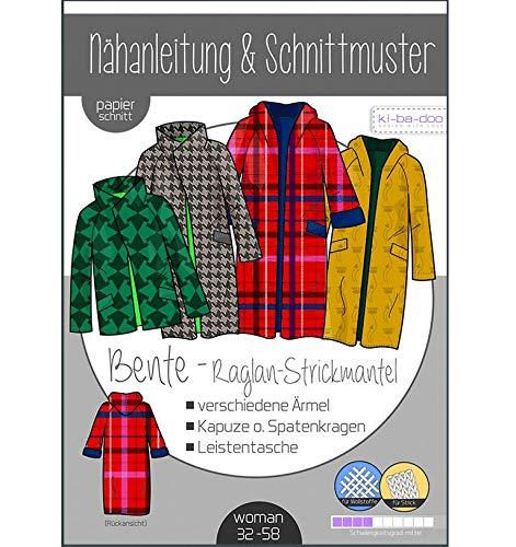Schnittmuster kibadoo Bente Raglan-Strickmantel Gr. 32-58 Papierschnittmuster