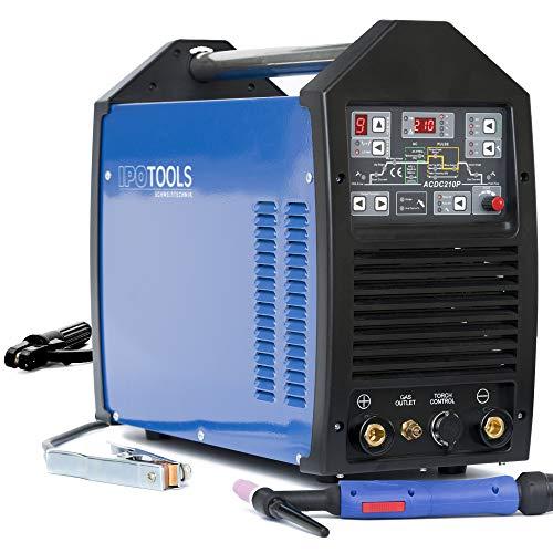 IPOTOOLS TIG 210P WIG Schweißgerät AC DC Schweissgerät mit 210 Amper Volldigitales Inverterschweißgerät Inkl. HF-Zündung, Pulsfunktion, MMA, IGBT, Jobspeicher, 32-bit Prozessor